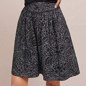 Conversations Anthropologie Black Floral Skirt Sz6